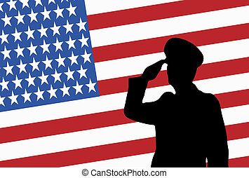 Silhouette of a saluting military officer