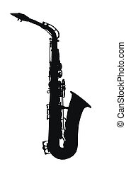 Silhouette of a saxophone - Computer generated 2D...