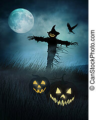 Silhouette of a scarecrow in fields of grass at night