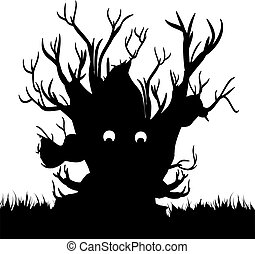 Silhouette of a scary tree without leaves (black, night) on white background,