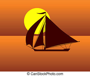 silhouette of a sea  turtle boat