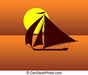 silhouette of a sea turtle boat