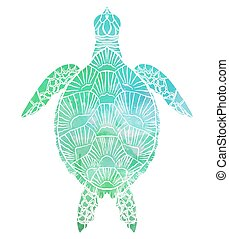 Silhouette of a sea turtle top view with turquoise watercolor background.