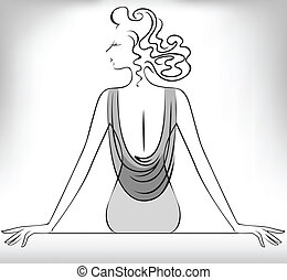 silhouette of a seated girl