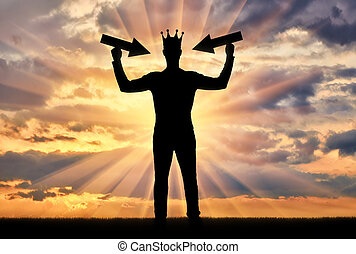 Silhouette of a selfish man with a crown on his head