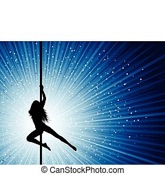 Silhouette of a sexy pole dancer on a starburst background