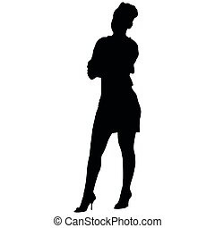 silhouette of a sexy woman with long legs in a short dress...