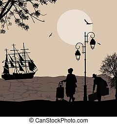 Silhouette of a ship at the sea and travelers people