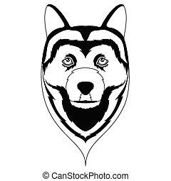 Silhouette of a siberian husky avatar