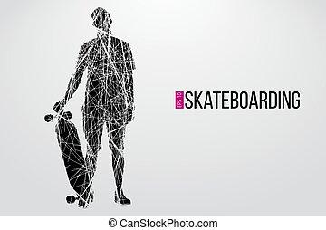Silhouette of a skateboarder. Vector illustration