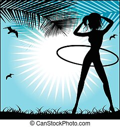 Silhouette of a slender woman doing exercises with hula-hoop aga
