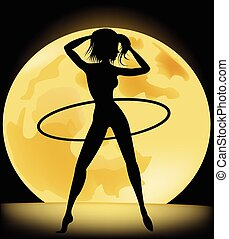 Silhouette of a slender woman doing exercises with hula-hoop in
