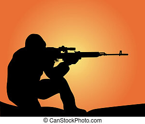 silhouette of a sniper on an orange background