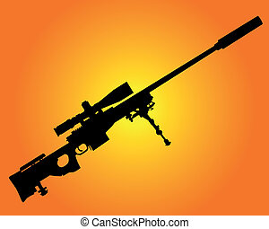 sniper rifle - silhouette of a sniper rifle on an orange...