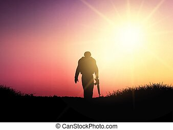 Silhouette of a soldier at sunset 1503