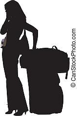 girl with luggage calling