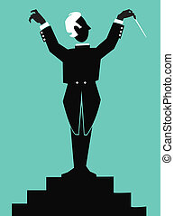 silhouette of a stylized figure of a conductor of an orchestra holding a baton with a turquoise background