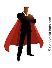 Silhouette of a super businessman