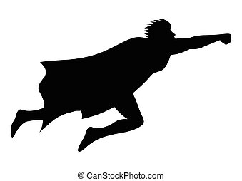 Silhouette of a superhero flying