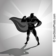 Silhouette of a superhero