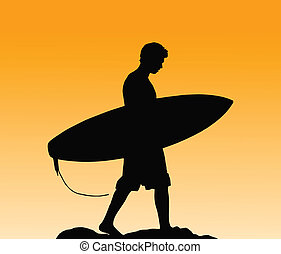 Surfer - Silhouette Of A Surfer Carrying His Board Home At...