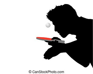 Silhouette of a table tennis player with red racket and ball