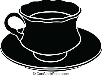 Silhouette of a teacup - Silhouette image of teacup with tea