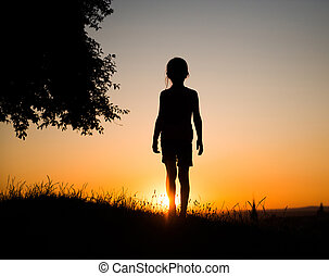 silhouette of a  teen girl