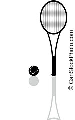 tennis racket and a ball with refle