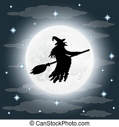 Silhouette of a terrible old witch on a broomstick on full moon