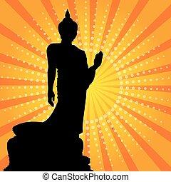 Silhouette of a Thai Buddha.