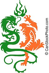 Silhouette of a tiger and dragon fight, a tattoo on a white background.