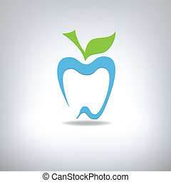 silhouette of a tooth in the form of an apple, vector...
