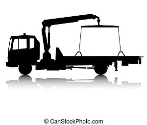 silhouette of a tow truck - black silhouette of a tow truck...