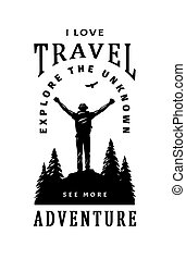 Silhouette of a traveler on a background of wildlife. Poster, t shirt design and quotes. Vector illustration.