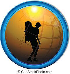 Silhouette of a traveler tourist button. Vector