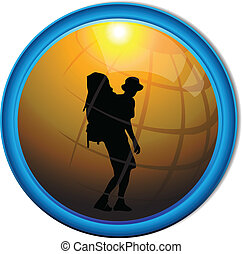 Silhouette of a traveler tourist button.Vector
