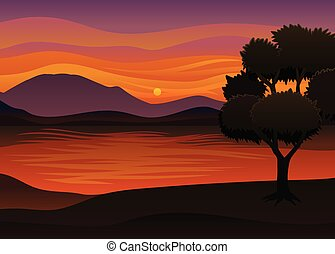 Silhouette of a tree with a lush crown against the backdrop of the sunset. Vector illustration on white background.