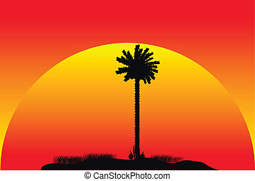 Silhouette of a tropical island at sunset