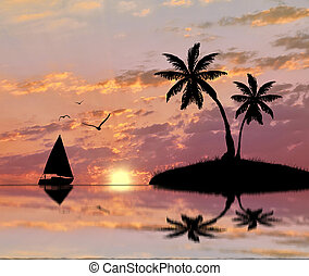 Silhouette of a tropical island with palm trees and a sailboat