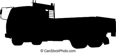 Silhouette of a truck side rear view