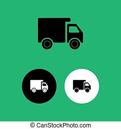Silhouette of a truck with a cargo box