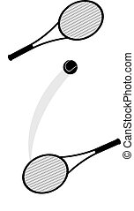 two tennis rackets and a ball