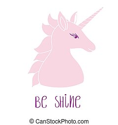 Silhouette of a unicorn with inscription