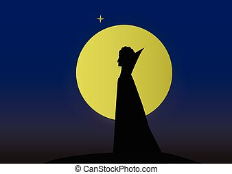silhouette of a vampire man in the background of the moon