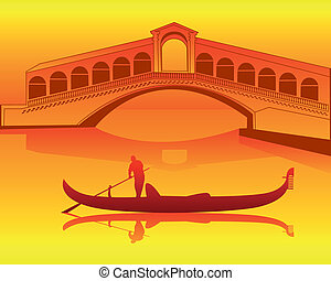 Venetian gondola from the Rialto Bridge - silhouette of a...