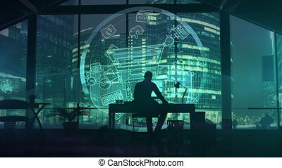 Silhouette of a web designer on the background of business center skyscrapers.