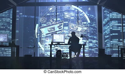 Silhouette of a web developer on the background of evening skyscrapers