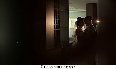 Silhouette of a wedding couple in a room with a beautiful interior.