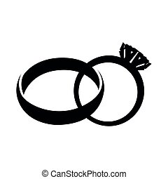 Silhouette of a wedding rings